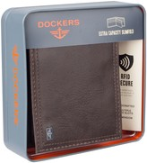 Dockers Mens RFID Blocking Extra Capacity Slimfold Zipper Closure Wallet
