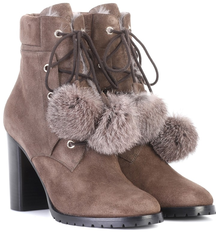 Jimmy Choo Elba 95 fur-lined suede boots