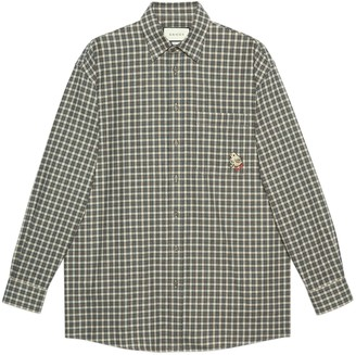 Gucci Check cotton wool shirt with patch