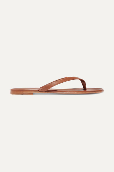 Gianvito Rossi Leather Flip Flops - Tan