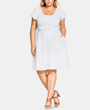 City Chic Trendy Plus Size Belted Button-Front Dress