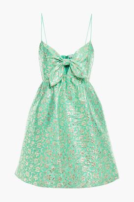 Alice + Olivia Melvina Bow-detailed Cotton-blend Brocade Mini Dress
