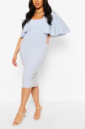 boohoo Plus Cape Sleeve Square Neck Midi Dress