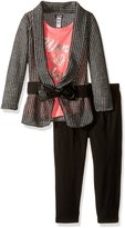 Kensie Toddler Girls' Open Cardigan with Crochet and Pleather Belt, T-Shirt and Leggings