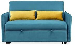 "Latitude Run Dorwell 57"" Wide Velvet Square Arm Sleeper Sofa Bed Fabric: Blue"
