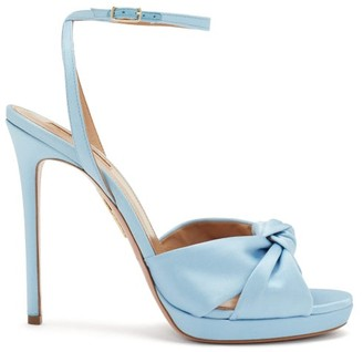 Aquazzura Chance Knotted Leather Sandals - Light Blue