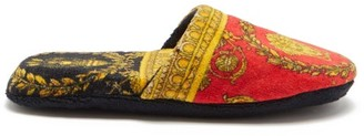 Versace Baroque-print Cotton-terry Slippers - Red Gold