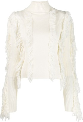 David Koma Fringed Fitted Sweater