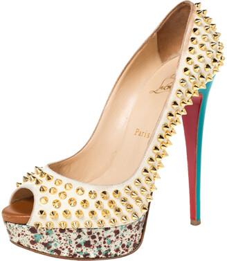 Christian Louboutin Multicolor Lady Peep Toe Spikes Platform Pumps Size 38.5