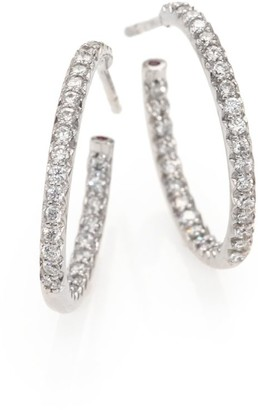 Roberto Coin Diamond & 18K White Gold Inside-Outside Hoop Earrings/0.75""