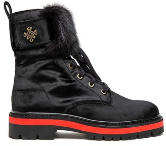 Mr & Mrs Italy Combat Boot With Mink Fur
