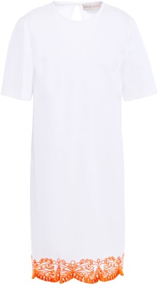 Emilio Pucci Tasseled Broderie Anglaise-trimmed Cotton-blend Twill Mini Dress
