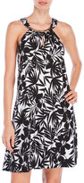 Dotti Palm Print Keyhole Halter Cover-Up