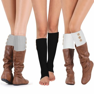 Phogary 3 Pairs Winter Leg Warmers for Women Crochet Knitted Long Boot Socks for Girls High Boot Cuffs Footless Socks Boot Topper Socks Leg Cuffs Boot Warmers Christmas Gift for Ladies