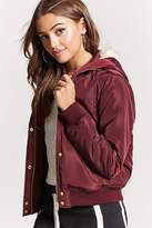 Forever 21 Padded Faux Fur-Lined Hooded Bomber Jacket