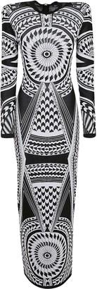 Balmain Long Fluid Jacquard Dress