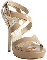 nude patent leather 'Louisa' crisscross platform sandals