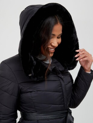 Very Faux Fur Trim Hooded Padded Coat - Black