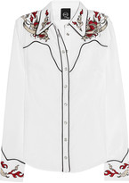 McQ by Alexander McQueen Western-style embroidered stretch-cotton shirt