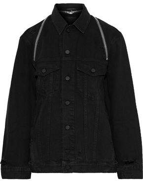 Alexander Wang Daze Zip-detailed Distressed Denim Jacket
