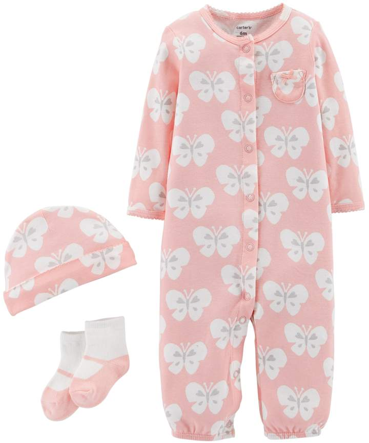 Carter's Baby Girl Patterned Convertible Coverall Gown, Cap & Socks Set