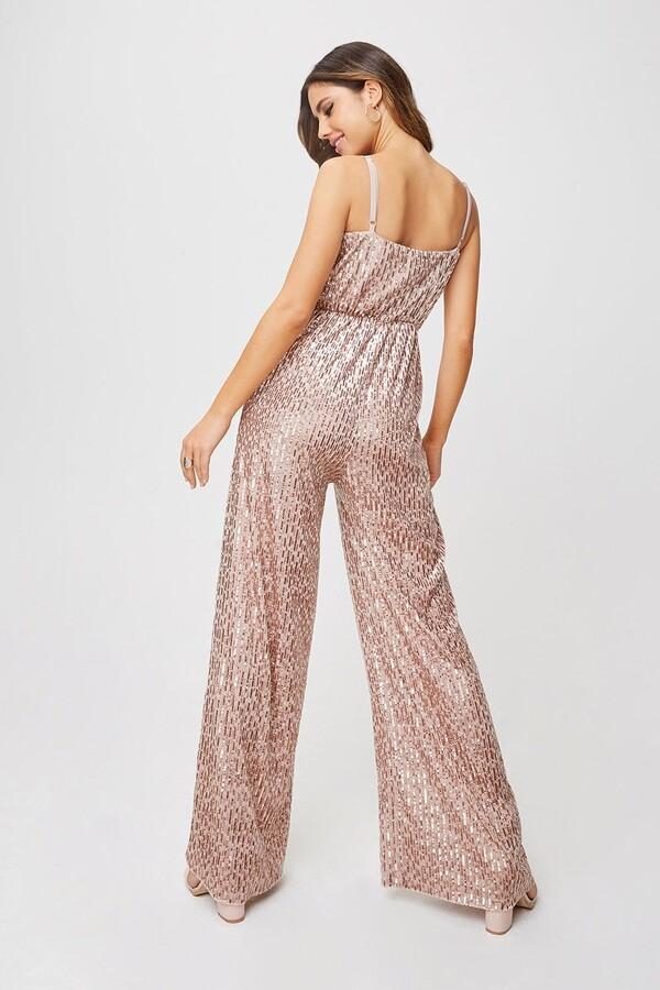 Thumbnail for your product : Little Mistress Shelley Mink Velvet Sequin Jumpsuit