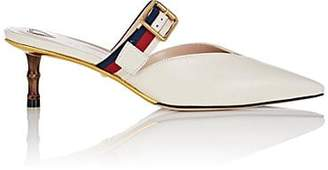 Gucci Women's Buckle-Strap Leather Mules - White