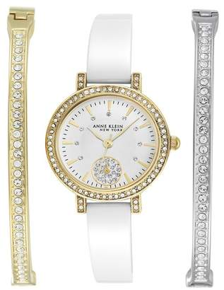Anne Klein Women's Swarovski Crystal Embellished Quartz Watch, 28mm - 3-Piece Box Set