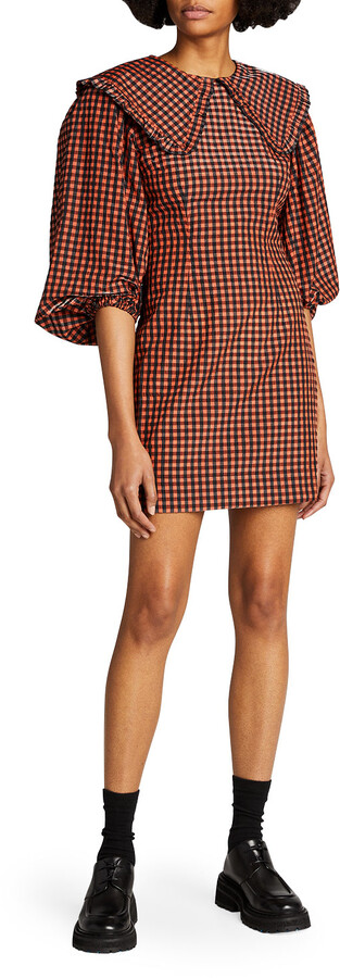 Ganni Seersucker Check Collared Mini Dress