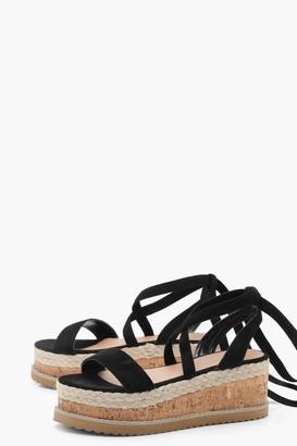 boohoo Flatform Espadrille Tie Up Sandals
