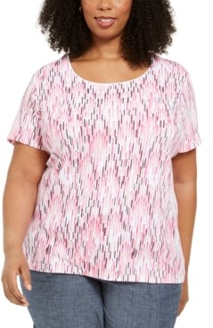 Karen Scott Plus Size Ikat-Print T-Shirt, Created for Macy's