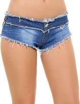 Evensleaves Women's Sexy Low Side Straps Mini Denim Shorts