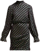 Saloni Rina Polka Dot Silk Dress - Womens - Black Green