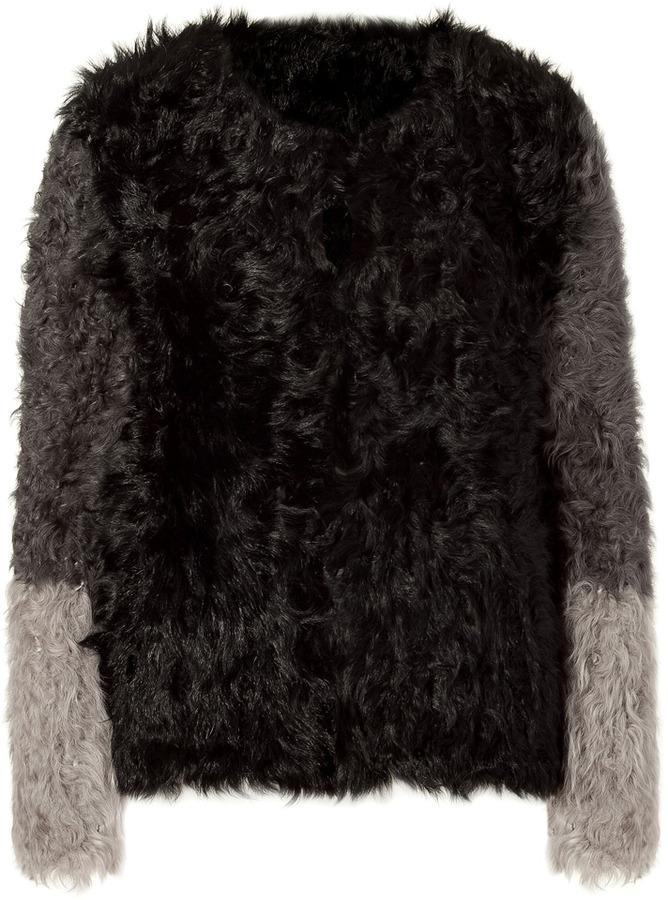 DKNY Black/Grey Lamb Shearling Jacket