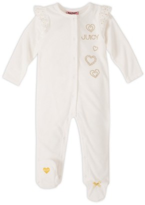 Juicy Couture Baby Girl's Embellished Cotton-Blend Footie