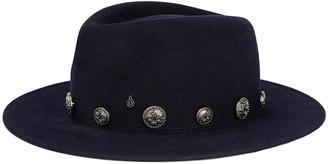 Maison Michel Thadee Rabbit Felt Fedora Hat w/ Star Studs