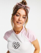 Thumbnail for your product : New Look raglan baseball tee with leopard heart in pink