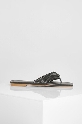 boohoo Soft Toe Post Flat Sandal