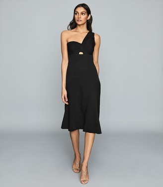 Reiss Kennedy - One-shoulder Midi Dress in Black