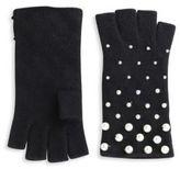 Portolano Fingerless Pearly Studded Cashmere Gloves
