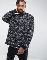 Asos Oversized Longline Sweatshirt With Floral Print