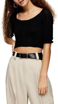 Topshop IDOL Frill Sleeve Crop Sweater