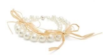 Simone Rocha Raffia Bow-trimmed Faux-pearl Bracelet - Womens - Pearl