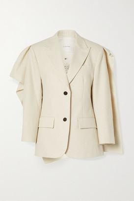 pushBUTTON Draped Pinstriped Cotton-blend Blazer - Ecru