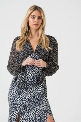 LIENA Mixed Print Maxi Dress With Split Detail