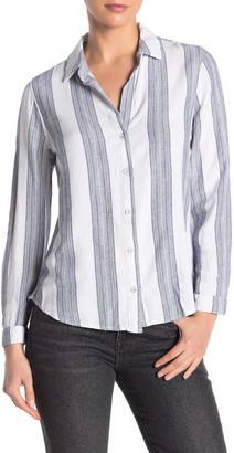 Cloth & Stone Classic Stripe Button Down Linenn Blend Shirt