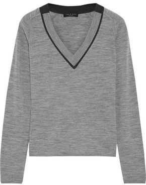 Rag & Bone Pamela Pointelle-trimmed Merino Wool Sweater