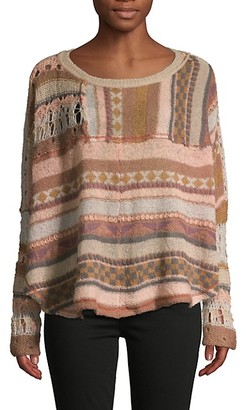 Free People Patchwork Open Knit Sweater