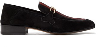Gucci Phyllis Web-stripe Suede Loafers - Mens - Black