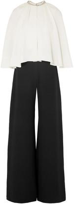 Marchesa Notte Layered Embellished Silk-cady Wide-leg Jumpsuit